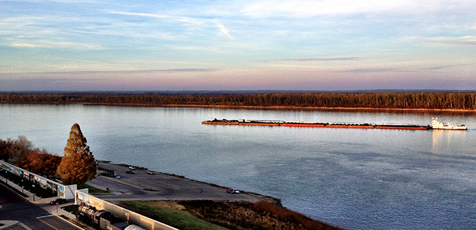 A picture of a barge on the Ohio River